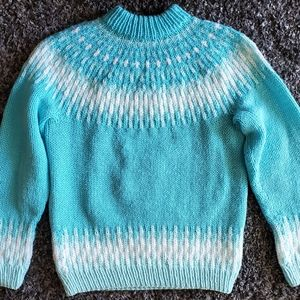 Hand Knitted Fair Isle Sweater in Bright Teal S/M